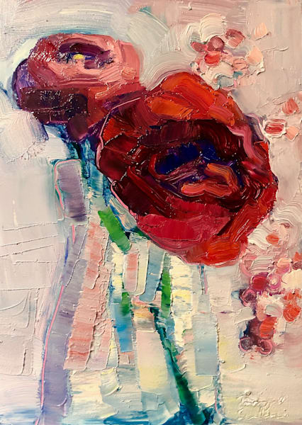 "Gorgeous lush oil painting by Monique Sarkessian, ""Together Still Life With Red Rose Ranunculus and Pepperberries1"".  I absolutely love painting flowers especially red ones. Gorgeous! Original art by Monique Sarkessian. Oil painting on wood measures"