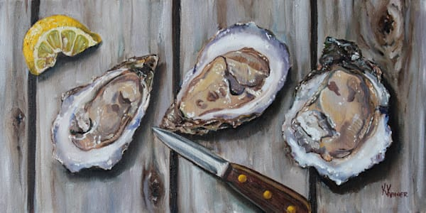 Shucked Oysters by Coastal Artist Kristine Kainer