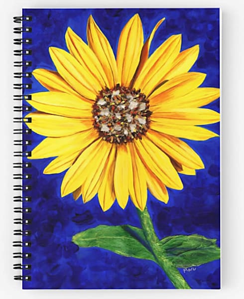 "Mare's Art spiral notebook with ""Sassy Sunflower"" artwork on the cover."