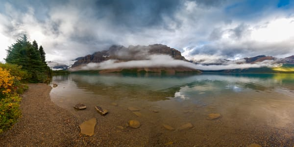 Crowfoot Mountain and Bow Lake emerge from a passing storm.|Banff National Park|Canadian Rockies|Rocky Mountains|