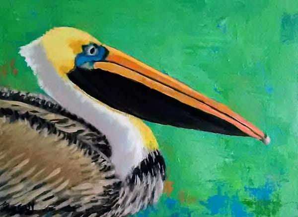 Pelican On Green - Oriinal Oil