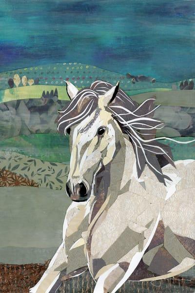 White Horse Unfolding to Bloom Art Print | Artist Jenny McGee