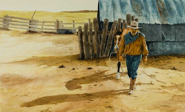 "Raymond Wattenhofer Original Art Painting ""The Tank Corral"""