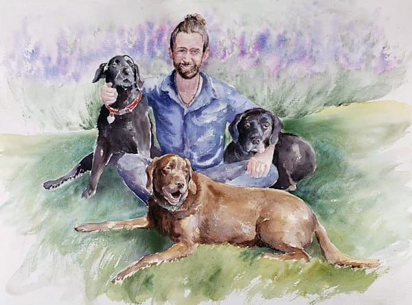 Justin And Dogs  Art | Bright Spirit Studio