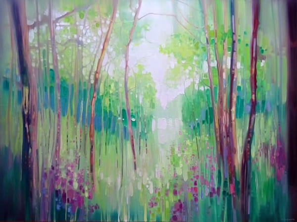 a large green woodland contemporary landscape oil painting of a distant lake seen through the trees of a woodland path.