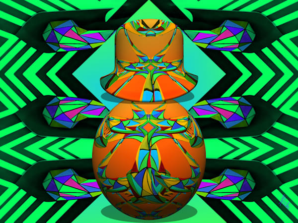 Russian Doll in Green, print of photograph of a giraffe at Meow Wolf for sale as digital art by Maureen Wilks