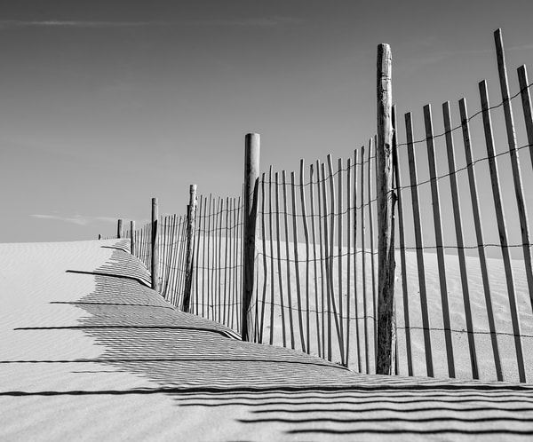 Beach Fencing B/W Photography Art | Kit Noble Photography