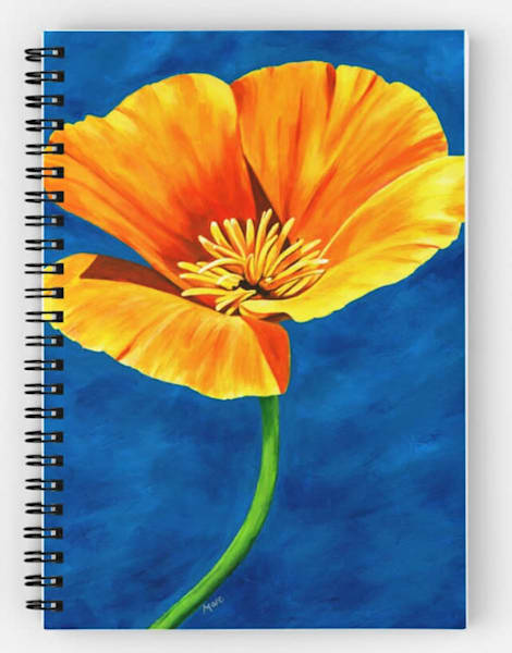 Brightly painted artwork by Mary Anne Hjelmfelt of a gold poppy flower decorating this lovely spiral notebook.