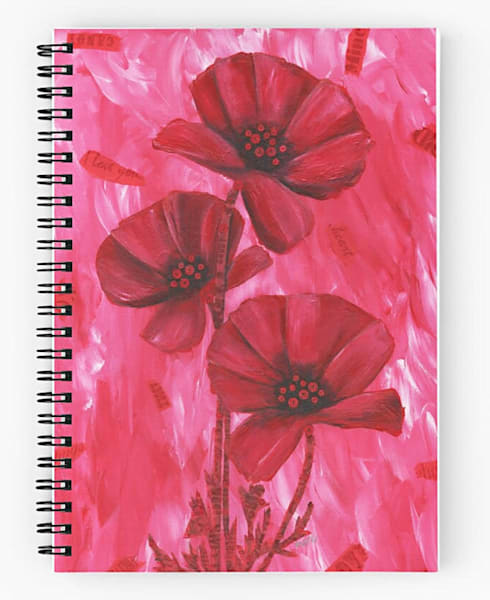 "Mare's Art spiral notebook with ""Poppy Love"" artwork on the cover."