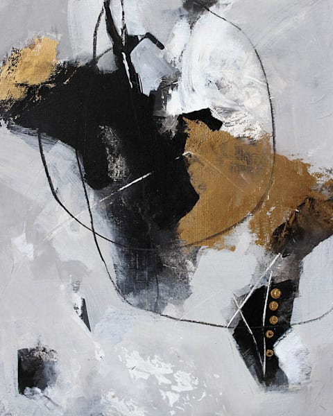 Abstract Painting in neutrals and gold by Canadian Artist Marianne Morris