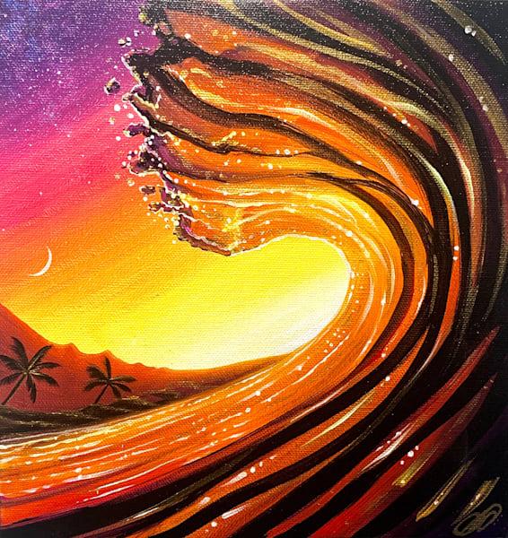 Golden Maui Wave Art | evoartmaui