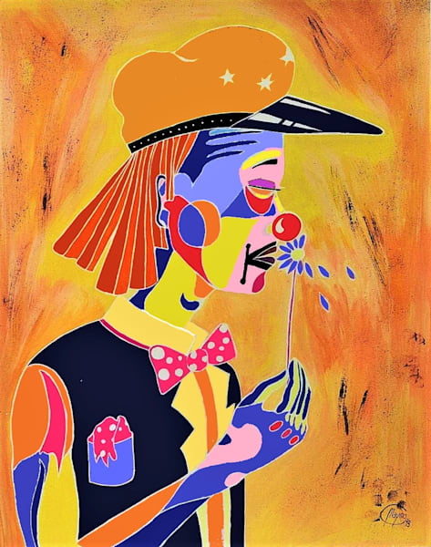 Clown with flower, art for sale