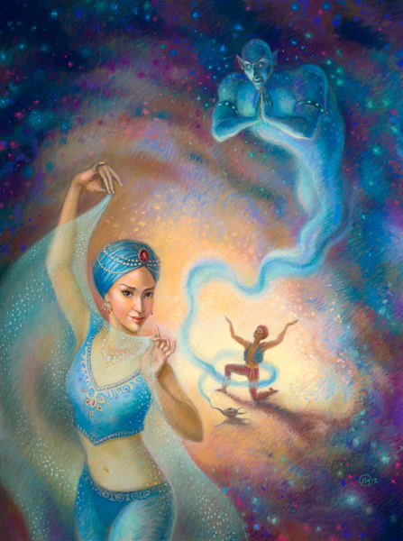 Aladdin original pastel painting