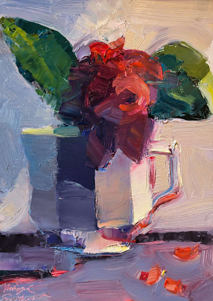 """Together Still Life With Red Rose in Coffee Cup (Wisdom)""  by Monique Sarkessian. Impressionist expressionist oil painting on wood measures 7"" x5"