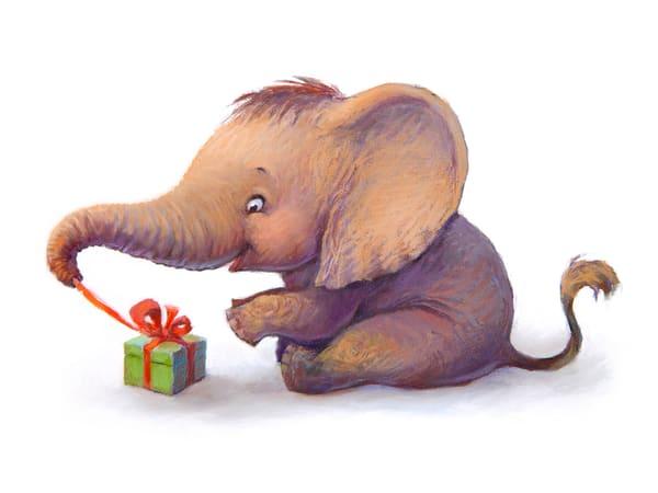 pastel, baby, elephant, present