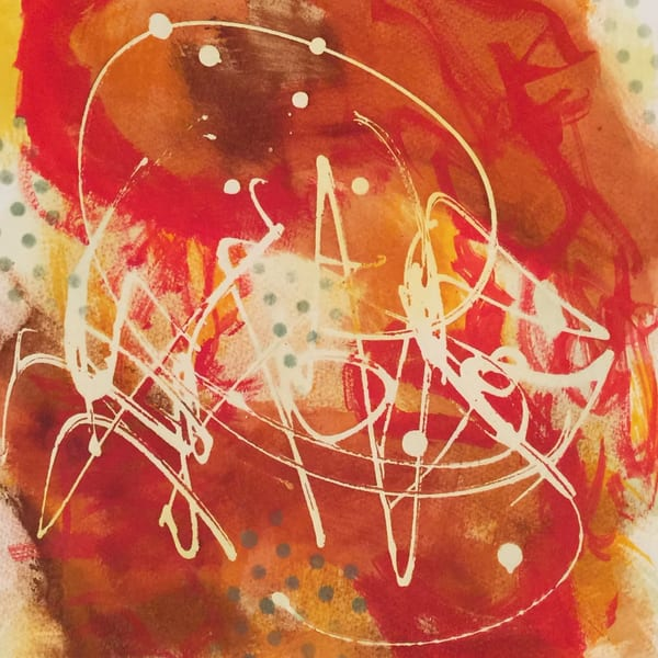 Ancient Proverb #1, watercolor abstract, rich red