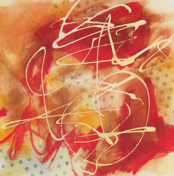Ancient Proverb #2, watercolor abstract, vibrant red
