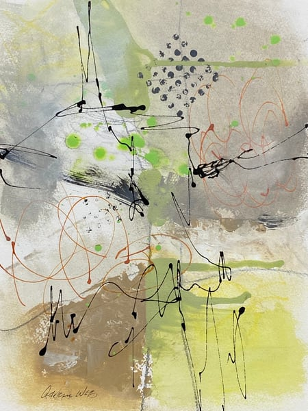 Emergence #2 is a lively mixed media abstract painting by Adrienne Watts.
