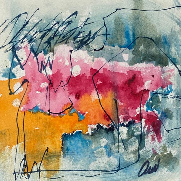 Joy Series #2 is a pink watercolor abstract by Adrienne Watts.