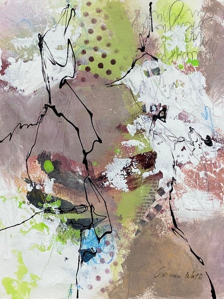 June 21 Study #1 is smoky pink mixed media artwork by Adrienne Watts.