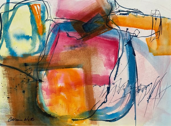 Synchronicity is a bright abstract watercolor by Adrienne Watts.