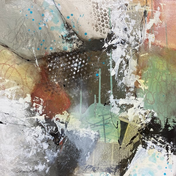 Yesterday's News #10 is mixed media art on wood panel created by Adrienne Watts.
