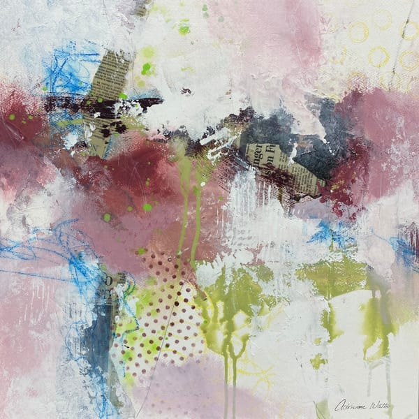 Yesterday's News #9 is a mixed media painting on wood by Adrienne Watts.