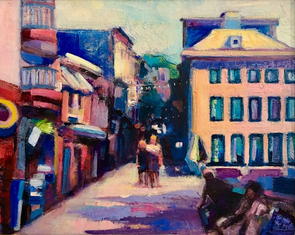 """plein air painting by Monique Sarkessian on a trip to Quebec City, Canada in the charming Quartier """"Le Petit Champlain Shopping"""" impressionist plein air oil painting, 10""""x8""""."""