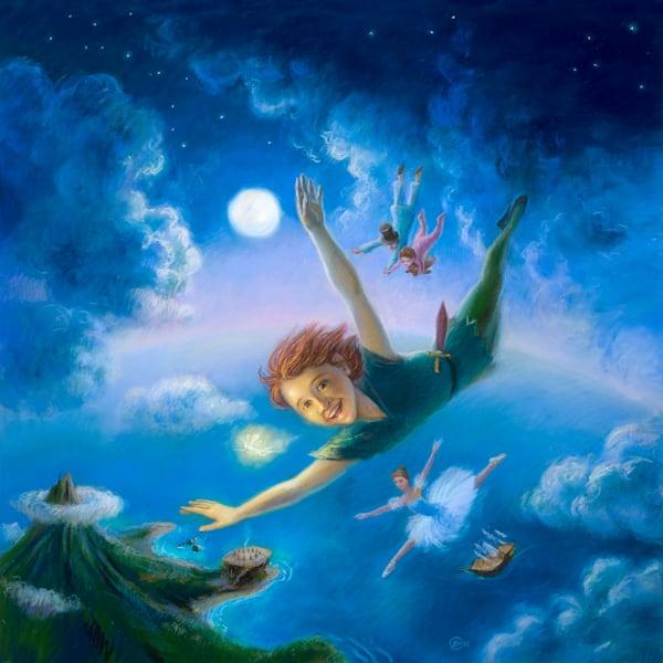 Peter Pan original pastel painting by Lyuba Bogan