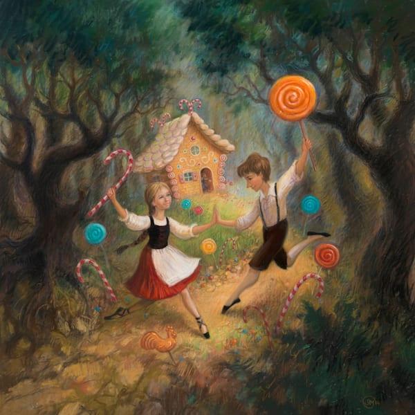 Hansel & Gretel original pastel painting by Lyuba Bogan