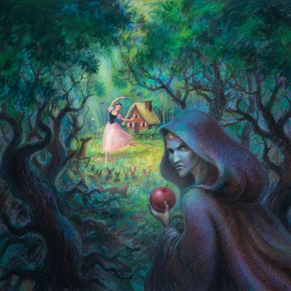 Snow White original pastel painting by Lyuba Bogan