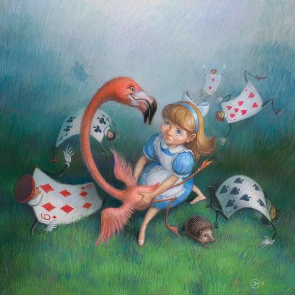 Alice in Wonderland original pastel painting by Lyuba Bogan