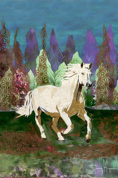 White Arabian Horse Art Print | Artist Jenny McGee