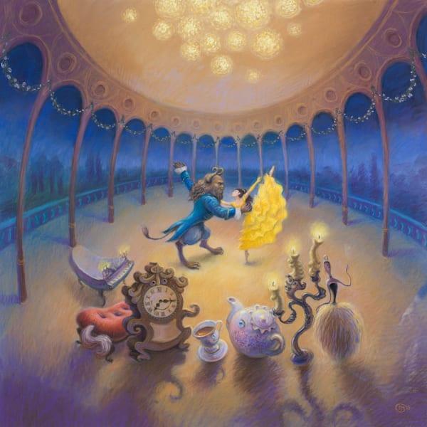 Beauty and the Beast original pastel painting by Lyuba Bogan