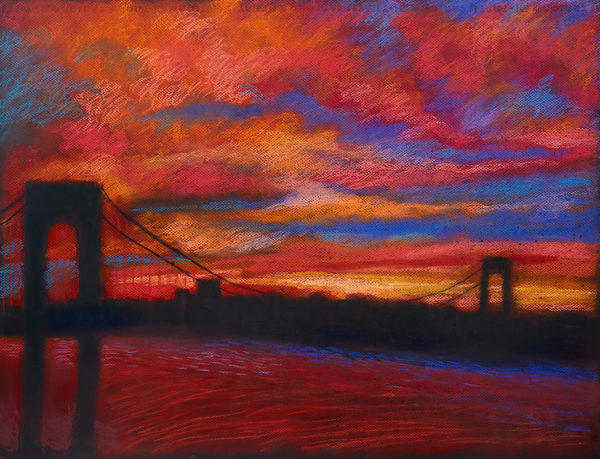 THE GW BRIDGE SUNSET LANDSCAPE IN MANHATTAN