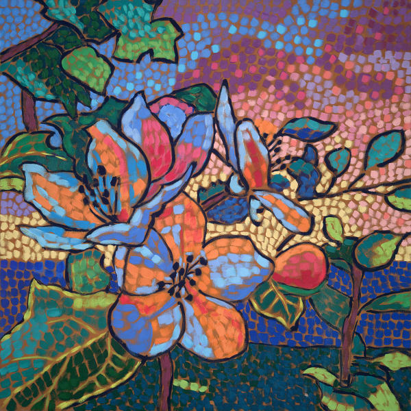 Apples, Apple Blossoms, Maine, maine artists, fauvism, flower art, Flowers-and-Trees