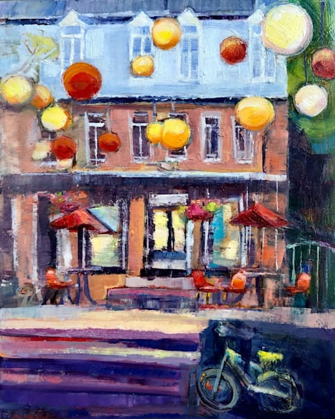 """plein air painting by Monique Sarkessian on a trip to Quebec City, Canada in the charming Quartier """"Le Petit Champlain Crepes""""  impressionist plein air oil painting, 10""""x8""""."""