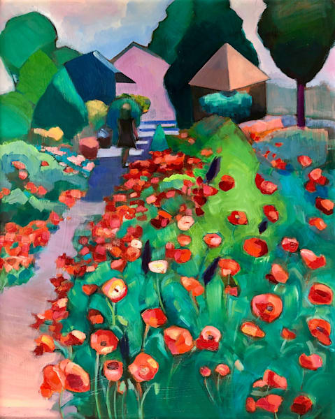 """Poppy Farm 3 expressionist plein air oil paintingby Monique Sarkessian.30""""h x 24""""w on wood cradleboard 1.5"""" deep unframed with sides painted."""