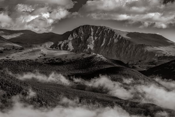 Black and White Photo of Mt Chapin in the Mummy Range - RMNP Colorado