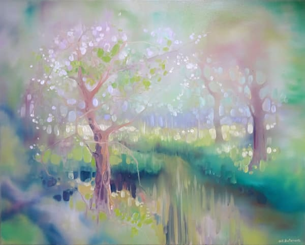 A green painting of a glade by a river in spring oil painting landscape, by sussex inspired artist Gill Bustamante