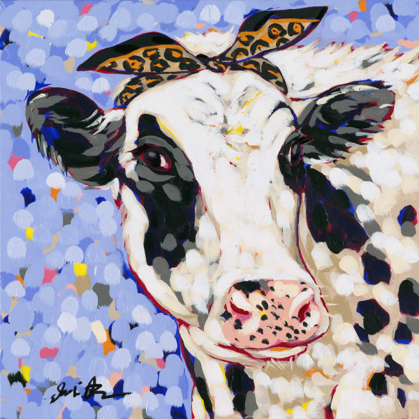 Painting of a black and white cow with a cheetah print bandana.