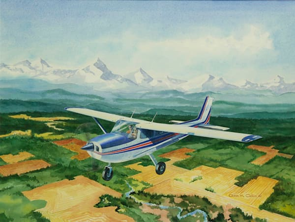 Skyhawk Ii Original Watercolor Art | Glen Collin Arworks Inc.