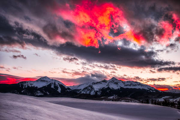 Sunset behind Sunshine Mountain and Wilson Peak