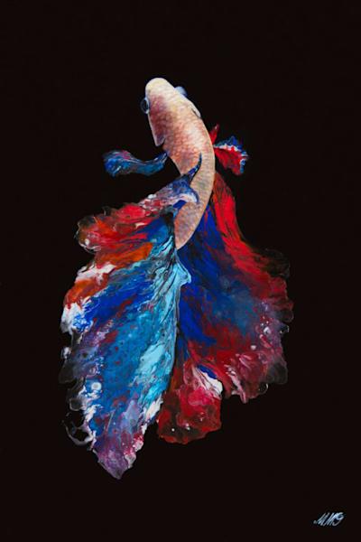 Betta Gump Fish | Original Mixed Media Painting