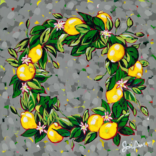Lemon Wreath, an original acrylic painting by Jodi Augustine.