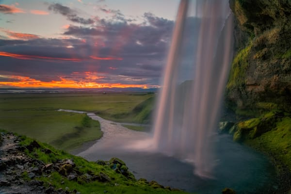 Sunset at Seljalandsfoss, Southern Region, Iceland