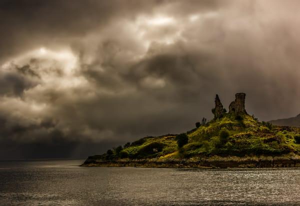 Storm clouds over Castle Moil, Kyleakin, Skye