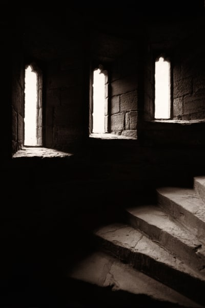 Circular Tower steps and windows, Linlithgow Palace Ruins, Linlithgow, Scotland. Birthplace of Mary, Queen of Scots