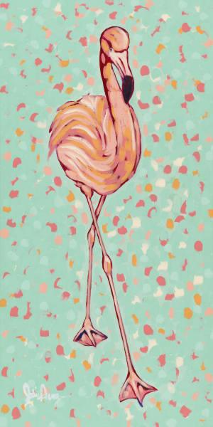 Flamigo II is an original art print of a slim, tall, pink bird.
