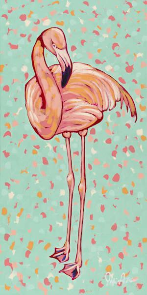 Original acrylic painting of a pink flamingo.